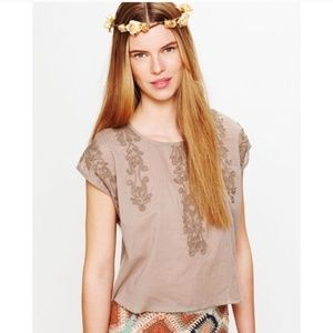 Free People Taupe Embroidered Quills Crop Top Sz M